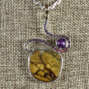 Stone Canyon Jasper and Star Ruby Sterling Silver Pendant
